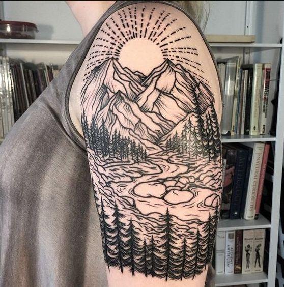 Mountain Quarter Sleeve Tattoos