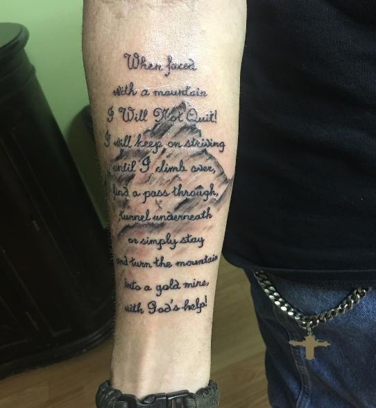 Mountain With Quotes Memorial Tattoos