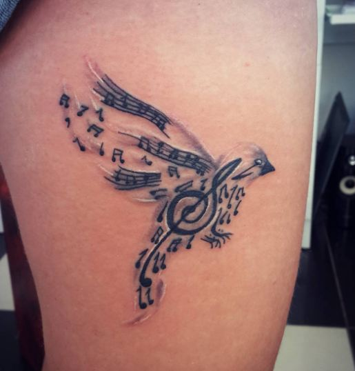 Music Note Bird Tattoos