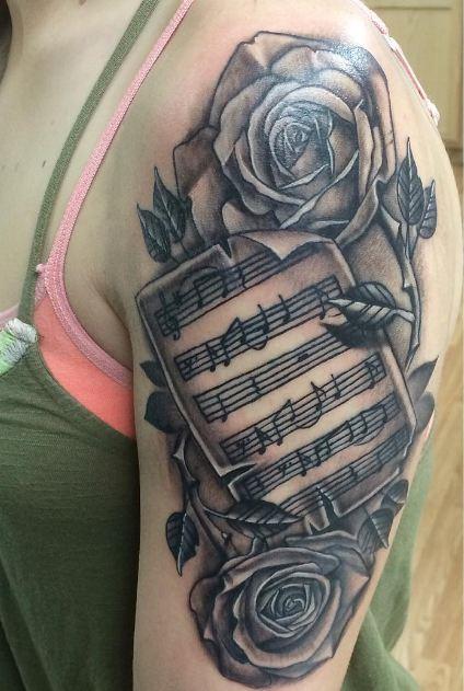 Music Quarter Sleeve Tattoos