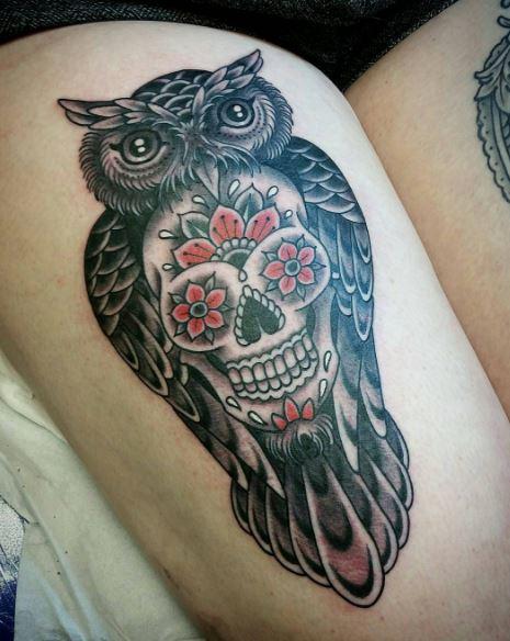 Owl And Skull Tattoos