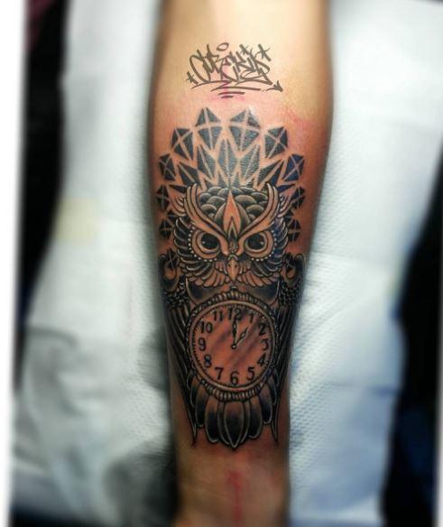 Owl Clock Tattoos