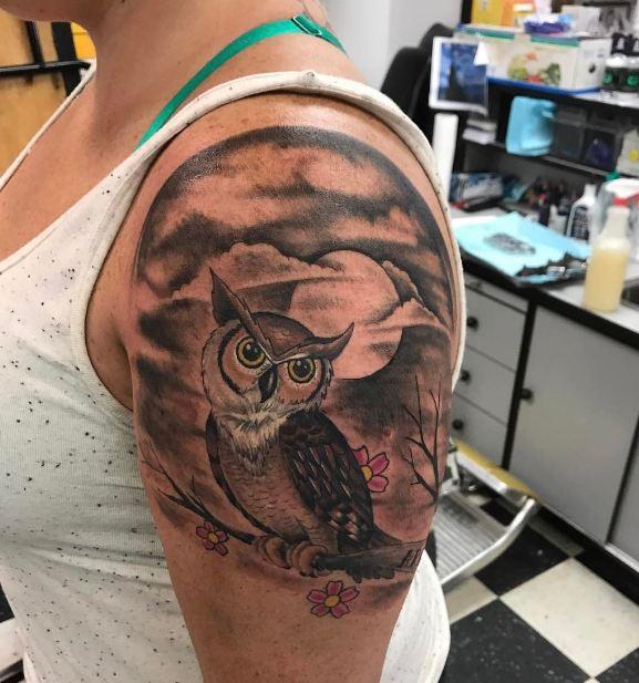 Owl Quarter Sleeve Tattoos