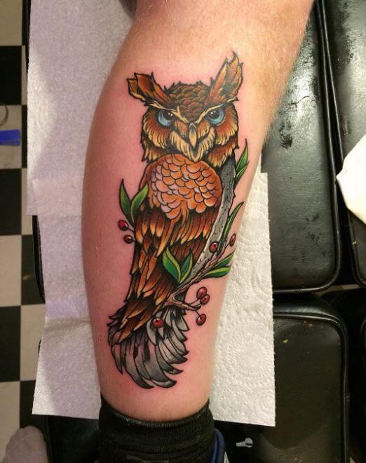 Owl Tattoos On Calf