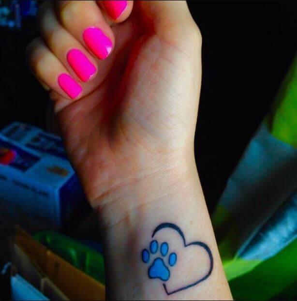 Paw Print Heart Tattoo Designs