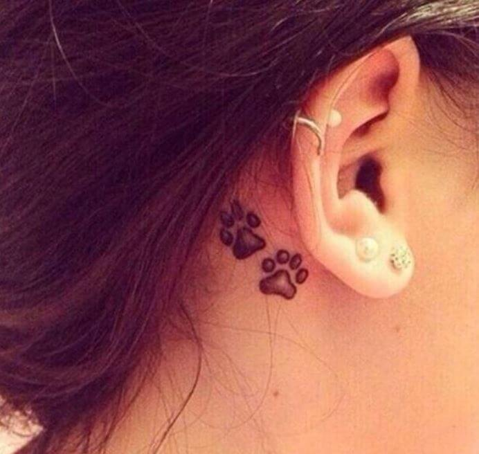 Paw Print Tattoo Behind Ear