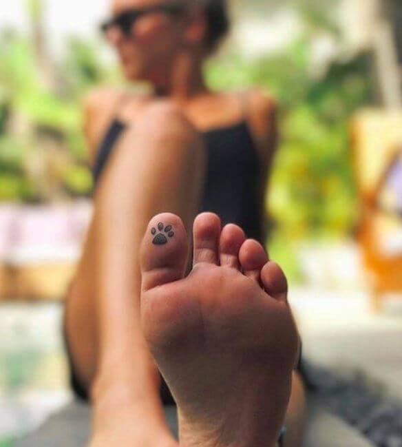 Paw Print Tattoo On Toe