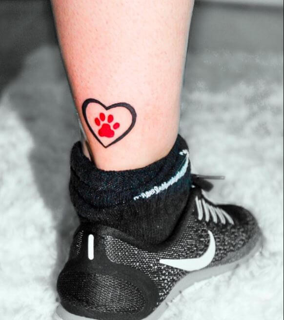 Paw Print Tattoo With Heart