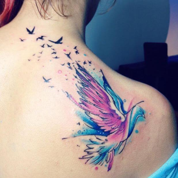 Pigeon Watercolor Tattoos