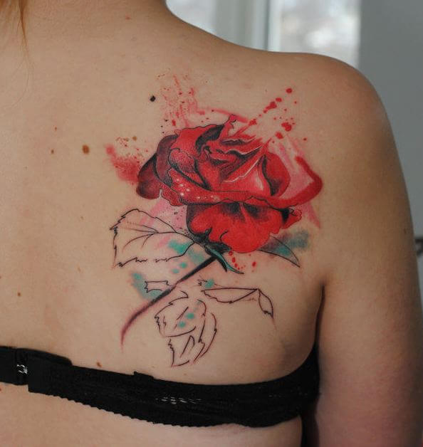 Red Watercolor Tattoos