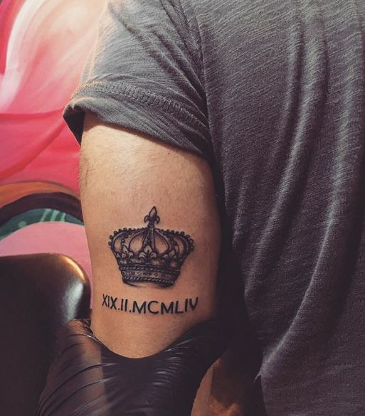 Roman Numerals Date Tattoos On Elbow
