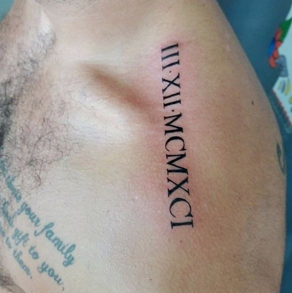 Roman Numerals Date Tattoos On Upper Shoulder