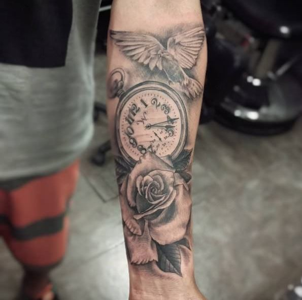 Rose And Clock Tattoos