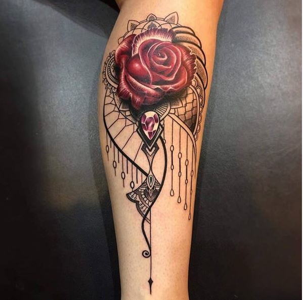 Rose And Pearl Tattoos