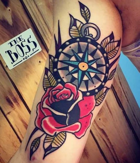 Rose Compass Tattoos
