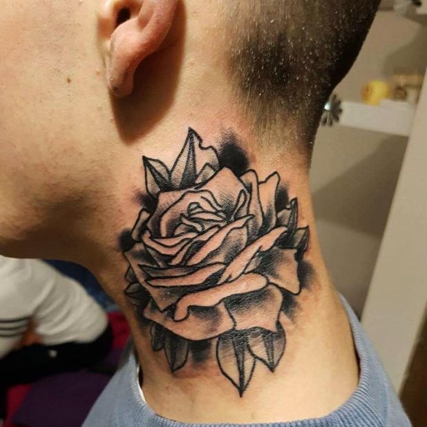 Rose Tattoos On Neck