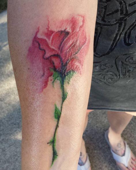 Rose Watercolor Flower Tattoos