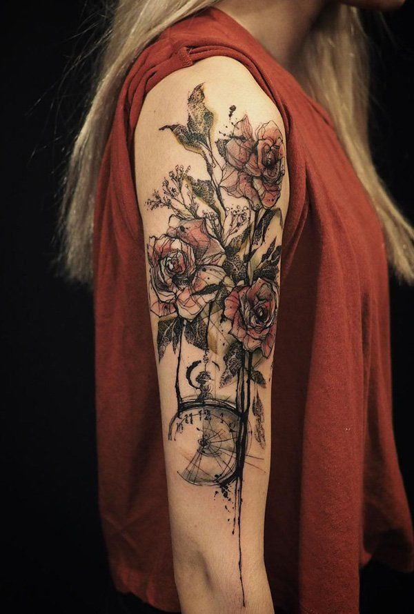 Roses With Pearls Tattoo (1)