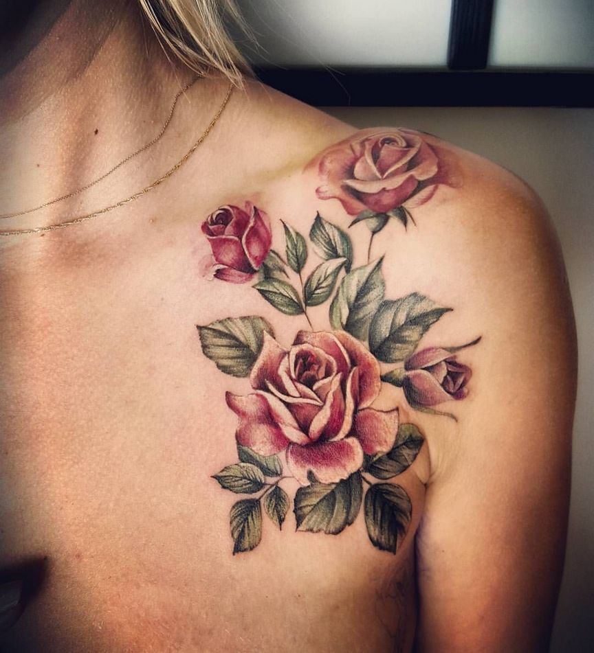 Roses With Pearls Tattoo (5)