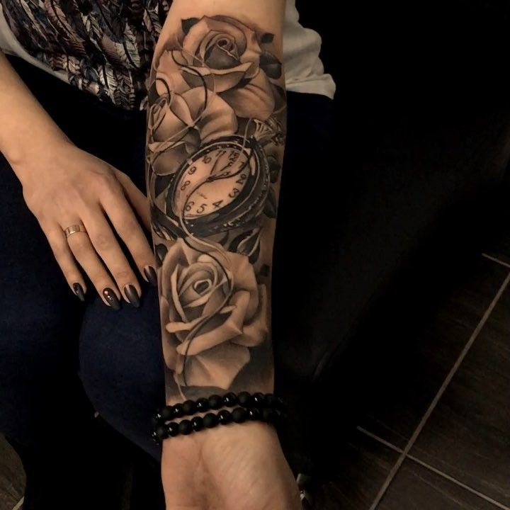 Roses With Pearls Tattoo (8)