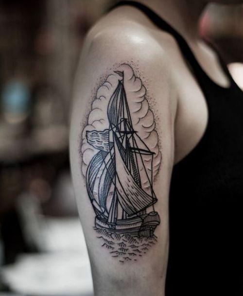 Ship Quarter Sleeve Tattoos