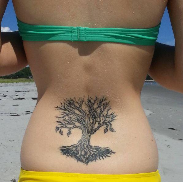 Simple Tree Lower Back Tattoos Ideas