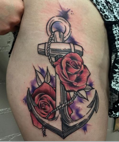 Sketch Style Anchor Tattoos