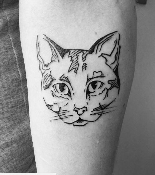 Sketch Style Cat Face Tattoos