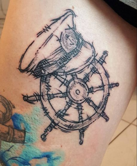 Sketch Style Stearing Wheel Tattoos
