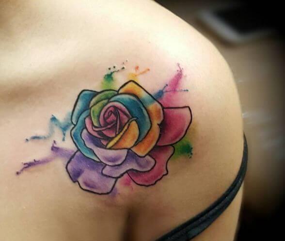 Small Watercolor Rose Tattoos