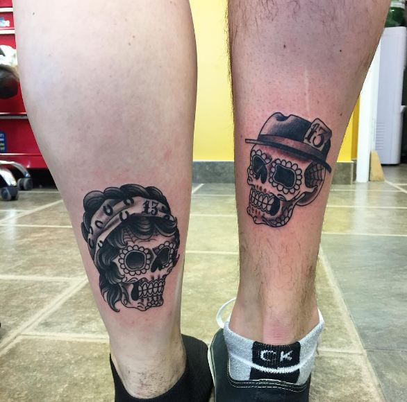 Sugar Skull Couple Tattoos