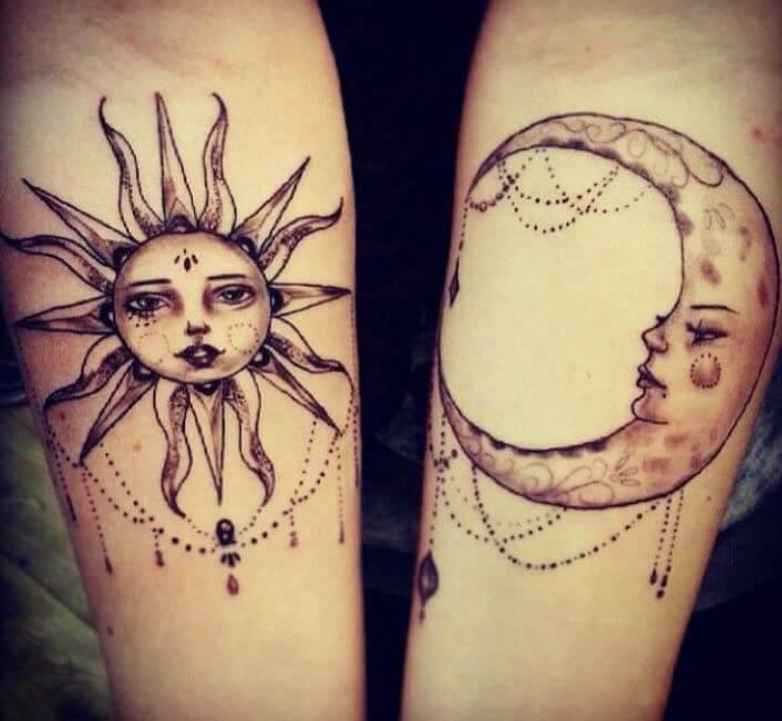 Sun And Half Moon Tattoos