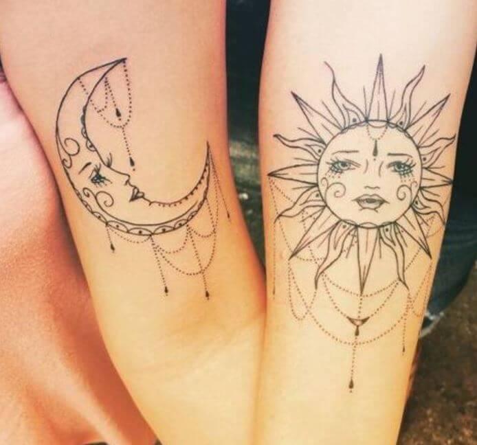 Sun And Moon Geometric Tattoo