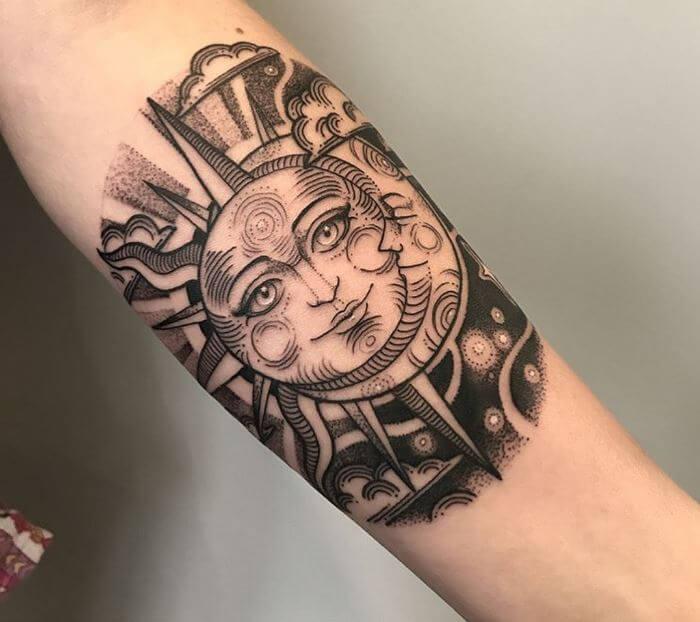 Sun And Moon Tattoo Arm