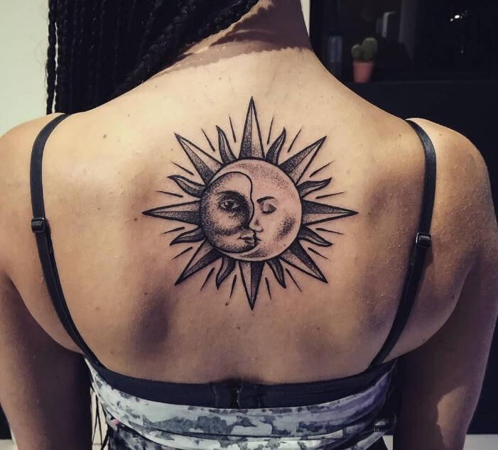 Sun And Moon Tattoo Back Of Neck