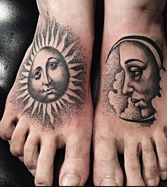 Sun And Moon Tattoo Dotwork