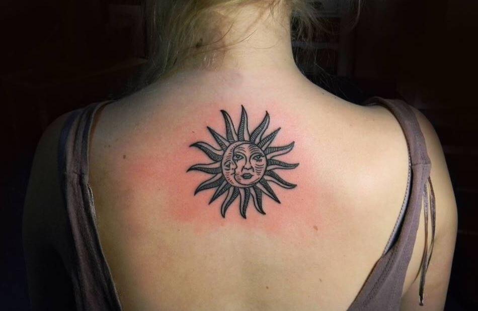 Sun And Moon Tattoo Girl