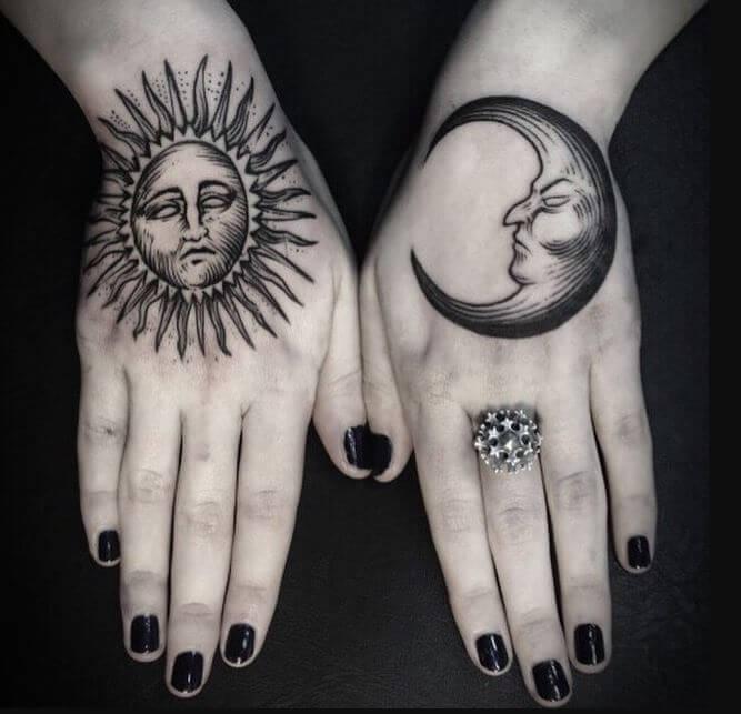 Sun And Moon Tattoo Hand