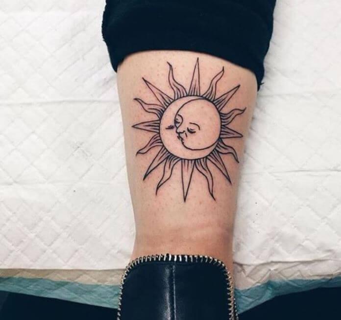 Sun And Moon Tattoo Kissing