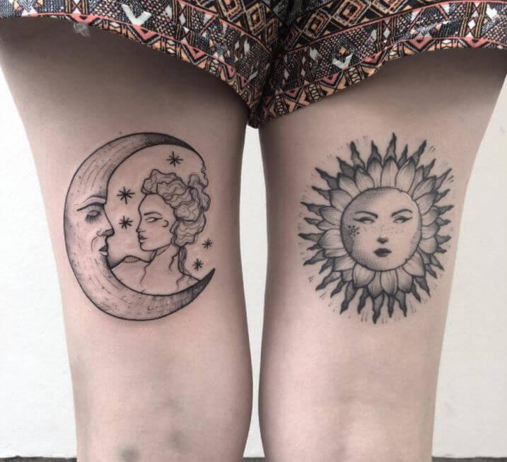 Sun And Moon Tattoo Leg