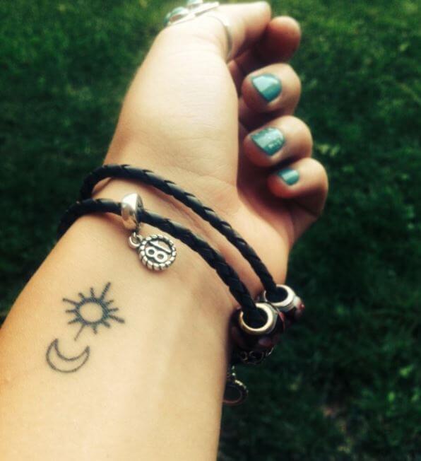 Sun And Moon Tattoo Little
