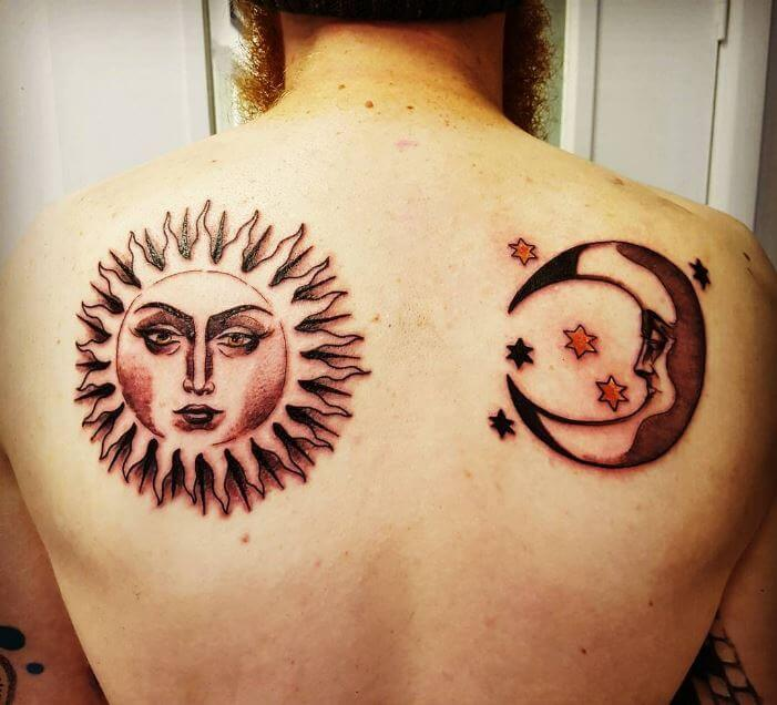 Sun And Moon Tattoos Back