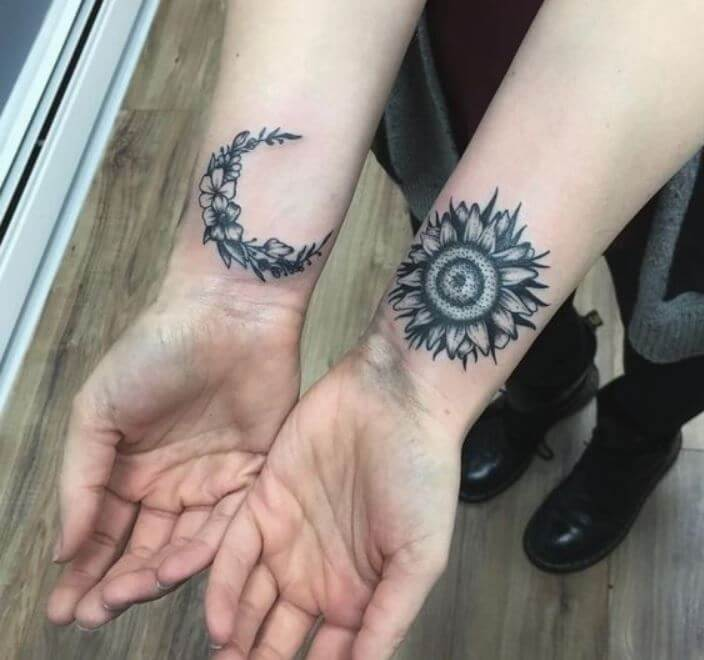 Sun And Moon Tattoos For Best Friends