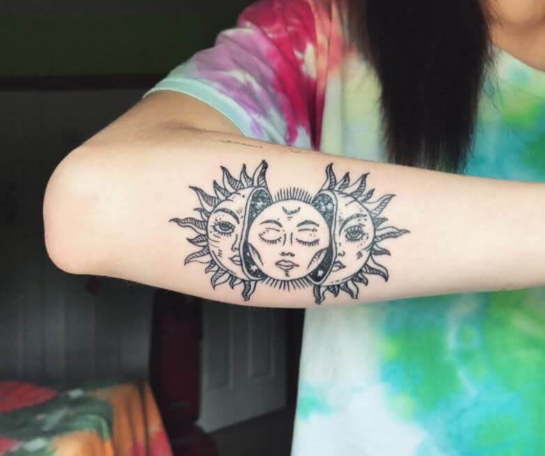 Sun And Moon Tattoos For Sisters