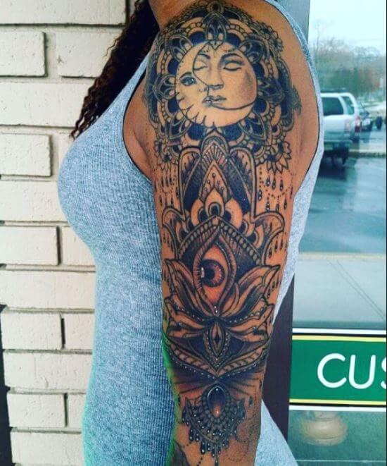 Sun Moon And Eye Tattoo