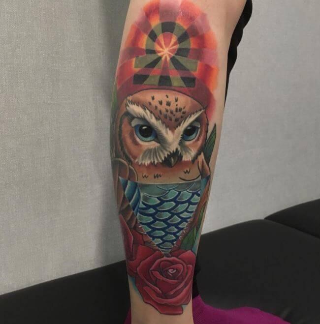 Traditional Owl Tattoo