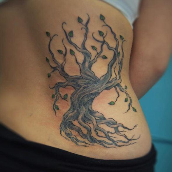 Tree Lower Back Side Tattoos