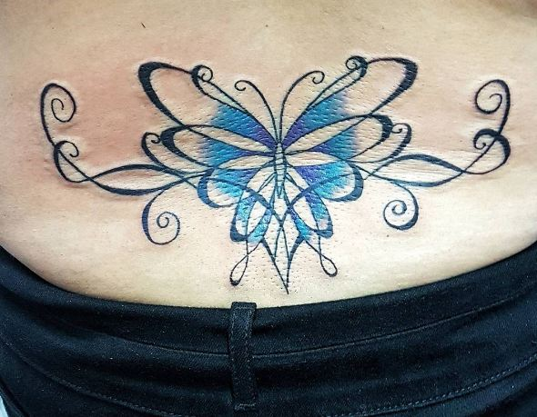 Tribal Butterfly Lower Back Tattoos