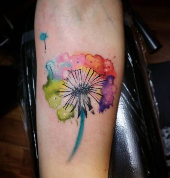 Watercolor Dandelion Flower Tattoos