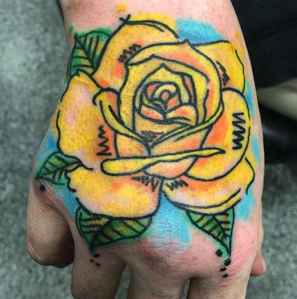 Watercolor Flower Tattoos On Hand